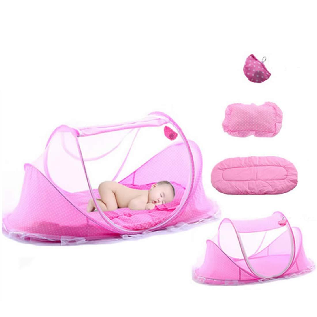 Matratze Babyzelt Reisebett Reisebett Baby Anti Mosquito Reisebettzelt Babyzelt Faltbett mit Moskitonetz Baumwollkissen und Musikpaket Rosa