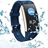 Fitness Tracker Activity Tracker, Heart Rate Monitor, Blood Pressure Sleep Monitor Pedometer, 0.96 inch TFT Colorful OLED Screen, Waterproof Bluetooth Smart Bracelet Compatible with Android & iOS
