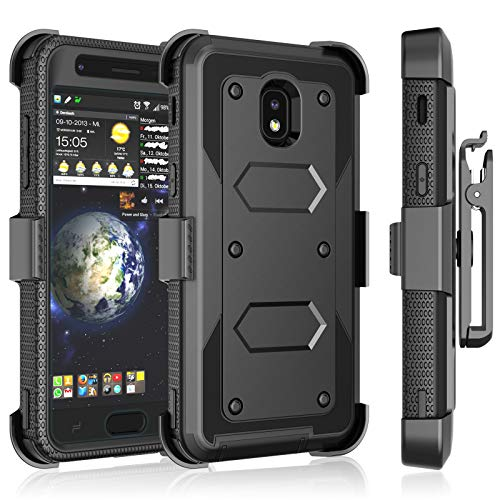 Tekcoo Samsung Galaxy J3 2018/J3 Orbit/J3 Achieve/J3 Prime 2/J3 Eclipse 2/J3 Aura/J3 Star Case Holster Clip, [Tshell] [Built-in Screen] Swivel Locking Belt Full Body Kickstand Carrying Cover ()
