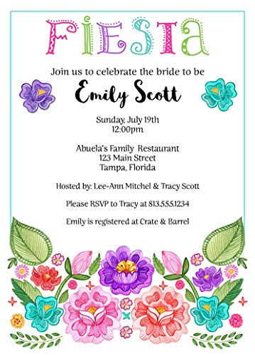 Fiesta Bridal Shower Invitations Taco Bout Love Taco Bout Baby Shower Wedding Birthday Party Cinco De Mayo Floral Flowers Nacho Average Bride Pink Purple Blue Customize (10 Count) ()