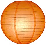 PaperLanternStore.com 42'' Orange Round Paper Lantern, Even Ribbing, Hanging (6 Pack)