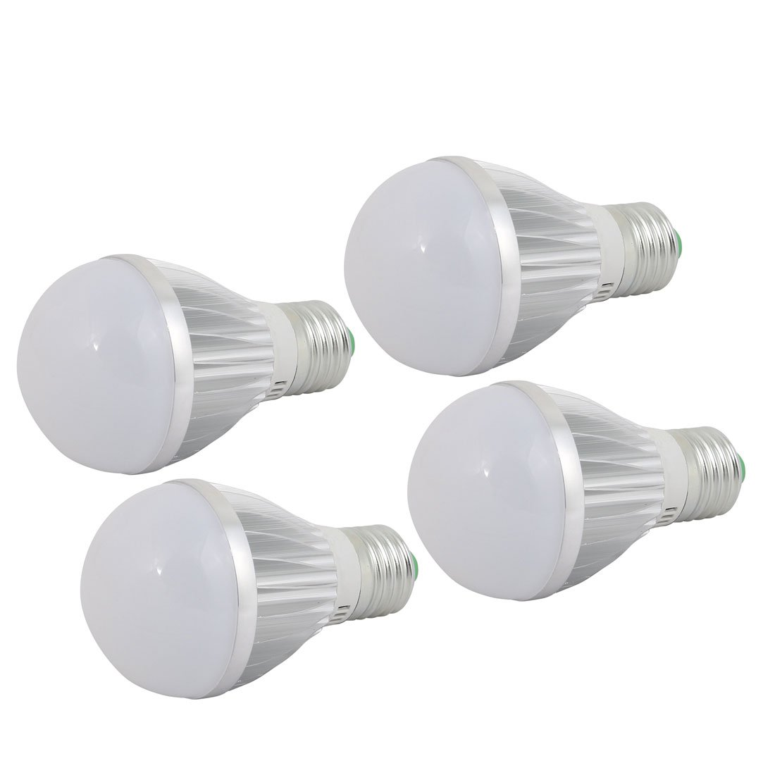 uxcell 4 Pcs 5W Sliver Aluminum Ball - Bulb Lamp Housing E27 Screw Base w White Cover