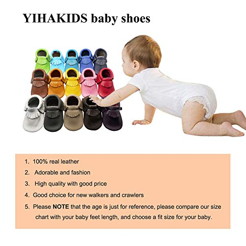 Images of YIHAKIDS Baby Tassel Shoes Soft Leather Sole Infant Shoes Baby Moccasins Crib Shoes Khaki(Size 5,6-12 Months/4.9in)