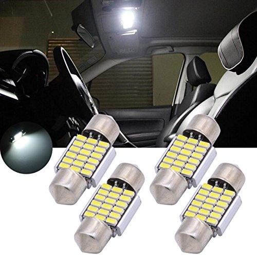 (TUINCYN 1.2 Inch 31MM 3014 LED Bulbs 18 SMD Chipset LED Light Interior Car Dome Lights Plate License Light Courtesy Door Map Reading Light White 2.8W DC 12V(4-Pack))