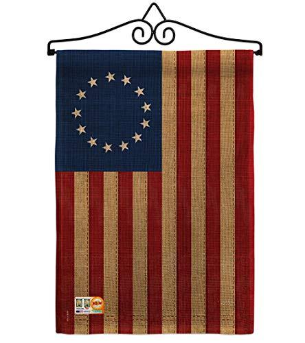 "Breeze Decor GS108068-DB-02 Betsy Ross Vintage Burlap Americana Historic Impressions Decorative Vertical 13"" x 18.5"" Double Sided Garden Flag Set Metal Wall Hanger Hardware"