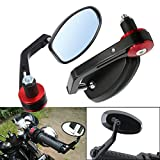 "Frenshion 7/8"" 22mm Motorcycle Handlebar Bar End Mirror Side Rear View Mirrors Red Grips for Yamaha Honda Triumph Ducati Motif Black"