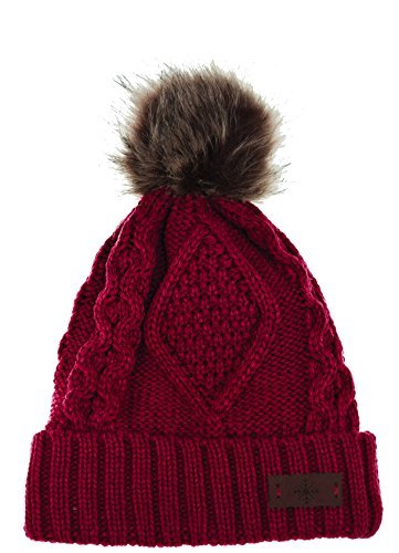 ANGELA & WILLIAM Women's Faux Fur Pom Pom Fleece Lined Knitted Slouchy Beanie Hat (Red) - Red Winter Beanie