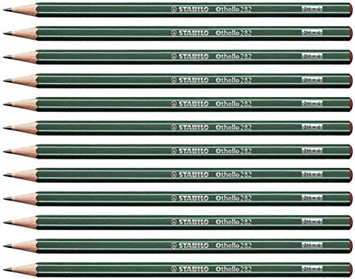 STABILO Othello 282/2H Pencil 2H Green with Stripes (Pack of ()