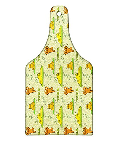 Lunarable Cat Cutting Board, Spiritual Kitten Practicing Yoga Meditation Hippie Humor Asana Fun Cartoon Design, Decorative Tempered Glass Cutting and Serving Board, Wine Bottle Shape, Merigold Green by Lunarable