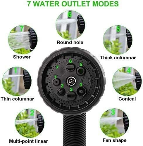 Pangpang Expandable Garden Hose,Garden Hose 3 Times Expandable Water Pipe 100ft Flexible Magic Hose Pipes Reel,with 7 Function Spray Nozzle(Green)