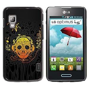PC/Aluminum Funda Carcasa protectora para LG Optimus L5 II Dual E455 E460 Skull Art Headphones Skeleton Lizzard Yellow / JUSTGO PHONE PROTECTOR
