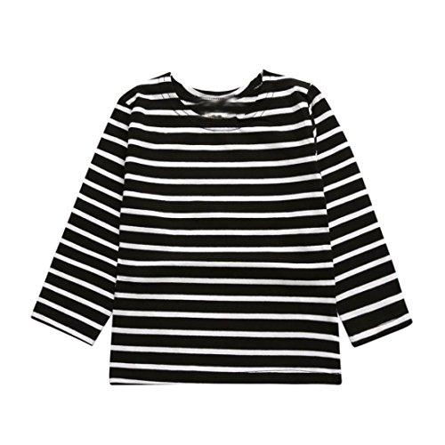 HighpotGirl Boy Kid(2~7T) Black&White Stripe Printing Soft T-shirt Tops Clothes (80(3T), Black) (Kids Black And White Striped Tights)