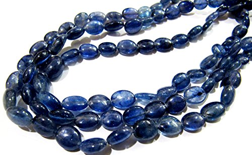 AA Quality Natural Blue Sapphire Beads / Smooth Oval Shape Sapphire Beads / Size 8x10mm / Strand 4 inches long / Precious Gemstone Beads