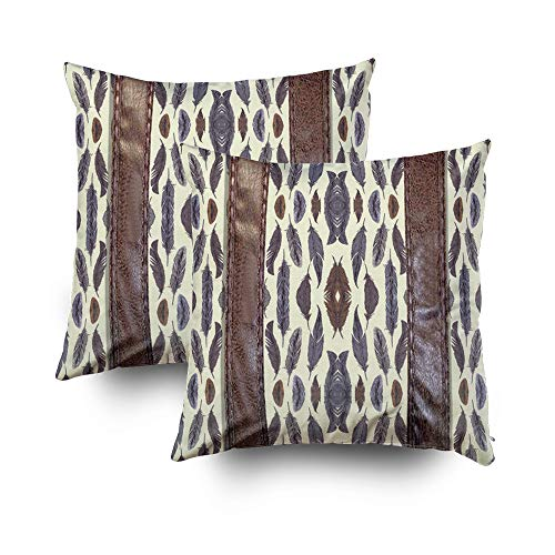 EMMTEEY Home Decor Throw Pillowcase for Sofa Cushion Cover,112 Western Tribal Feather w Leather Print Decorative Square Accent Zippered and Double Sided Printing Pillow Case Covers 18X18Inch,Set of 2