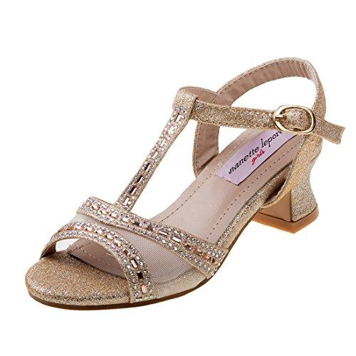 Nanette Lepore Girls Rhinestone Glitter Dress Sandals, Gold, 13 M US Little Kid'