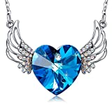 MEGA CREATIVE JEWELRY Angel Wings Blue Heart Pendant Necklace with Swarovski Crystals