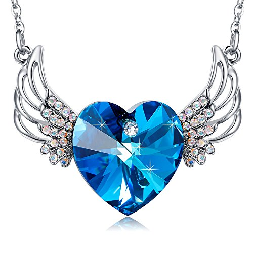 MEGA CREATIVE JEWELRY Angel Wings Blue Heart Swarovski Crystal Elements Pendant Necklace Fashion Jewelry
