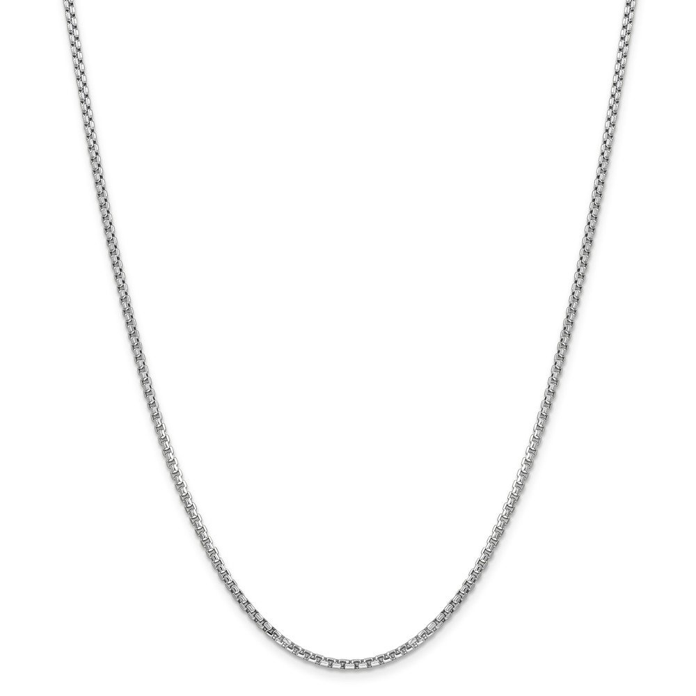 Mireval 14k White Gold Semi Solid Round Box Chain Necklace 2.45mm 26''