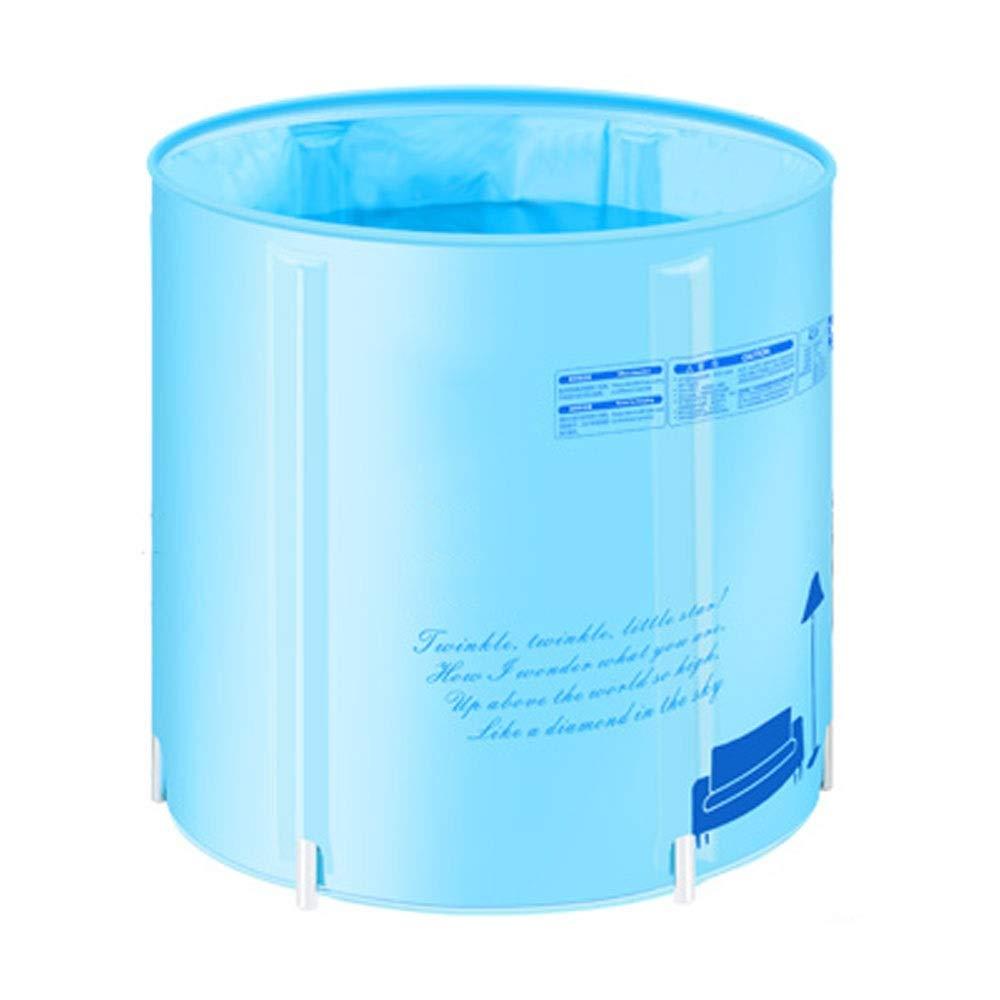 ZSLLO Thicken Folding Portable Tub Adult Spa PVC Bathtub Bathtub Blue and Pink (Color : Blue)
