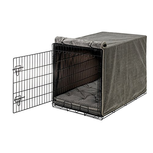 Bowsers Luxury Crate Cover, Medium, Pewter Bones