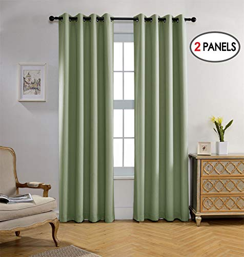 Miuco Blackout Curtains Room Darkening Curtains Textured Grommet Panels for Living Room 2 Panels 52x84 Inch Long Sage
