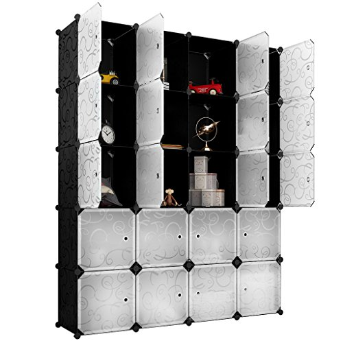 LANGRIA 20 Storage Cube Organizer Wardrobe Modular Closet Plastic Cabinet, Cubby Shelving Storage Drawer Unit, DIY Modular Bookcase Closet System with Doors for Clothes, Shoes, Toys Black and White -
