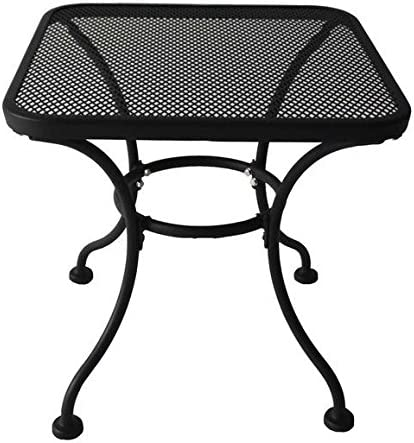 Heavy Duty Steel 18 Square Latticework Tabletop Patio Yard Porch Outdoor Coffee Side End Table – Black