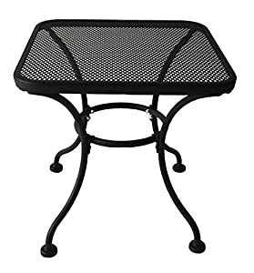 Superb Heavy Duty Steel Square Latticework Tabletop Patio Yard Porch Outdoor Coffee Side End Table Black