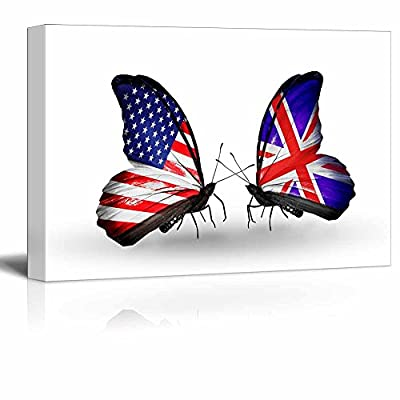 Professional Creation, Amazing Print, Butterflies with Flags on Wings as Symbol of Relations USA and UK