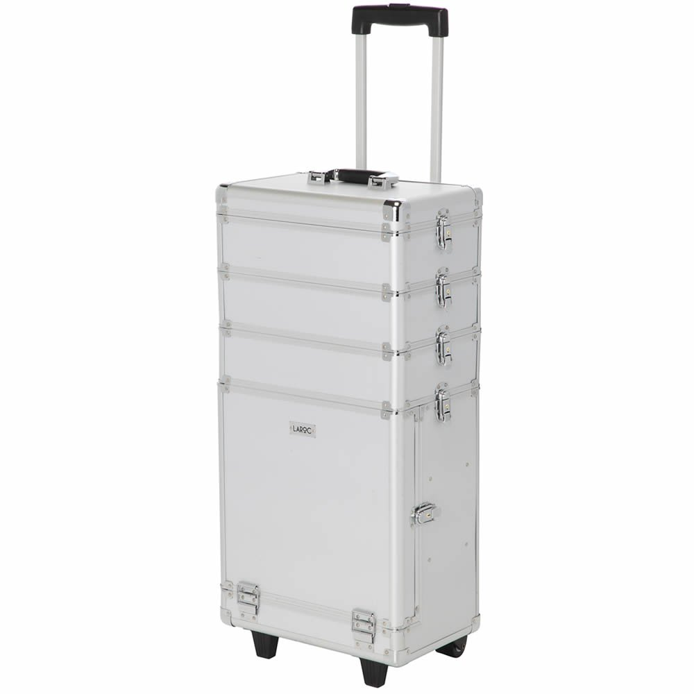 LaRoc Large Professional Cosmetic Makeup Trolley Vanity Case Storage Hairdressing Box - Silver