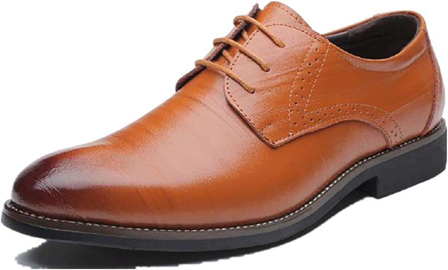 TALLA 40 EU. Zapatos Oxford Hombre, Brogue Cuero Boda Negocios Calzado Vestir Cordones Derby Negro Marron Azul Rojo Amarillo 37-48EU