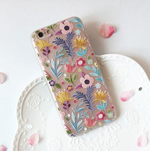 iPhone 8 Case/iPhone 7 Case(4.7inch),Blingy's Beautiful Flower Pattern Series Half Transparent Matte Texture Soft Rubber TPU Protective Case for iPhone 8/iPhone 7 (Various Flowers)