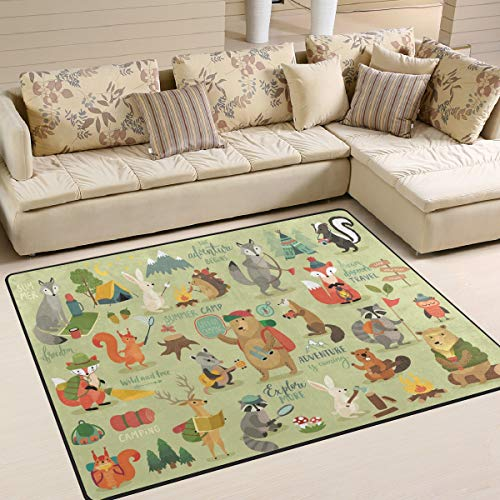 ALAZA Home Decoration Camping Animals Jungle Fox Bear Rabbit Large Rug Floor Carpet Yoga Mat, Modern Area Rug for Children Kid Playroom Bedroom, 5 x 7
