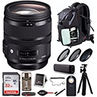 Sigma 24-70mm f/2.8 DG OS HSM Art Lens for Nikon F-Mount Cameras (576955) Deluxe Travel Bundle
