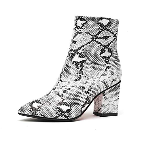 - wetkiss Plus Size Fashion Women Ankle Bootie Snake Print Sexy Boots Winter Fur Thick high Heels Women Shoes