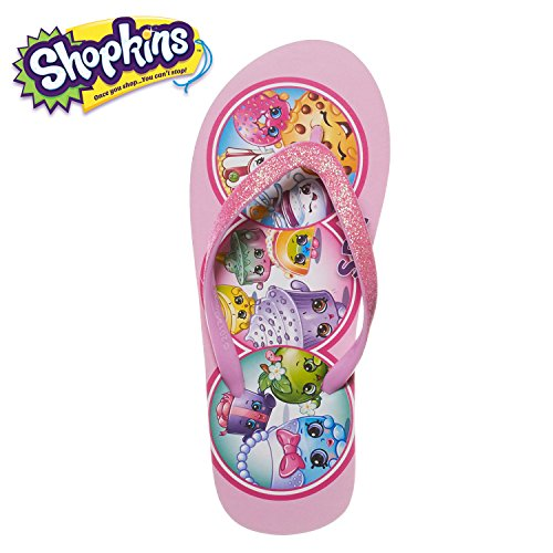 Shopkins Girls Girls Flip Flops With Sparkling Jelly Straps Med Pink 13-1 (Flops Flip 1)