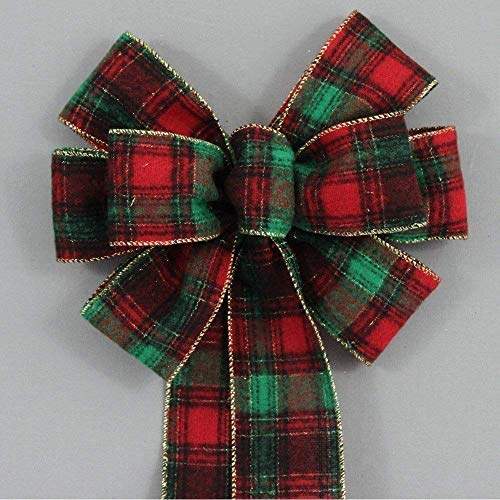 Country Flannel Plaid Christmas Bow - available in 2 sizes ()