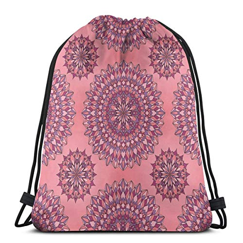 - 2019 Funny Printed Drawstring Backpacks Bags,Ancient Filigree Art Inspired Ethnic Bohemian Kitsch Oriental Display,Adjustable String Closure