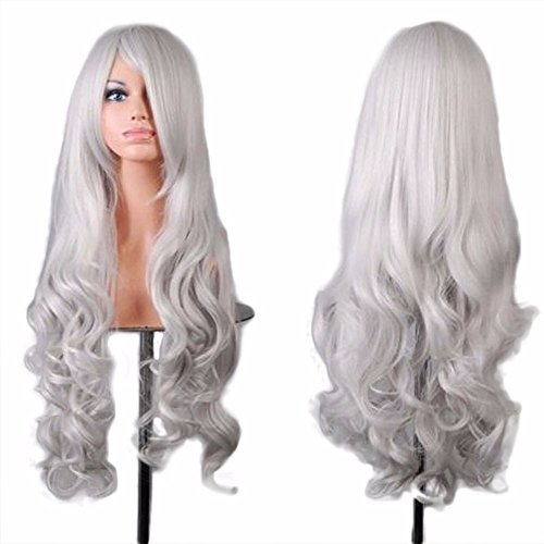 aliveGOT 80cm Women's Full Wig Long Curly Hair Heat Resistant Wigs Harajuku Style Hair Wigs Costume Wigs Cosplay Party Lolita Wig with Bangs (Silver)]()
