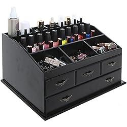 Wood Dresser Top Vanity Cosmetic Organizer Chest Box / Countertop Jewelry Tray Rack / Storage Drawer Set