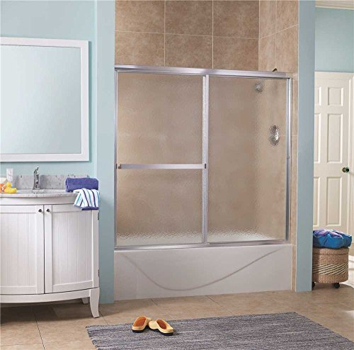 Foremost Lakeside Sliding Tub Door, 5/32 In. Obscure Glass, 56-60 In. W. X 55 In. H., Silver