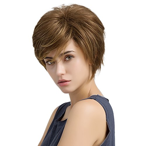 HAIRCUBE Short Natural Wigs for Women Heat-Resistant Synthetic Color Golden Brown