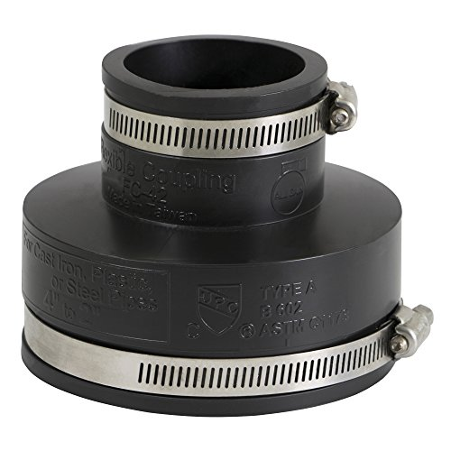 EVERCONNECT 4835 Flexible Pvc Reducing Rubber Coupling with Stainless Steel Clamps, 4 x 2 Inch, Black