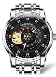 AESOP Men's seiko automatic mechanical watch, metal bracelet band waterproof Fashion (Silver)