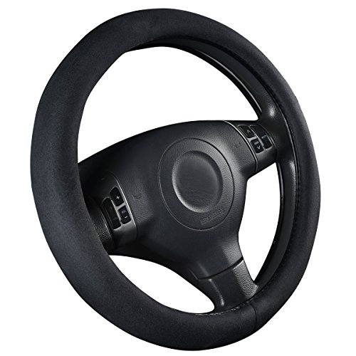 CAR PASS Faux Suede Universal Car Steering Wheel Cover - Black (Suede Steering Wheel Cover Black)