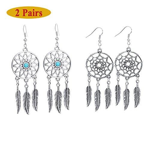- Clearance! Elogoog Womens 1 Pair Bohemian Feathers Earrings Vintage Dreamcatcher Dangle Stud Ethnic Earrings (Silver)