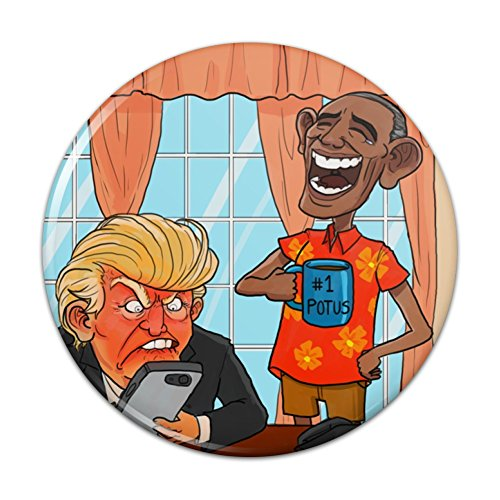 Obama Laughing at Trump Funny President Pinback Button Pin - 3