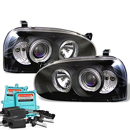 VIPMOTOZ LED Halo Ring Black Projector Headlight Lamp Assembly For 1993-1998 Volkswagen MK3 Golf, GTI & Cabrio, Built-In 55 Watts Xenon HID Low Beam, Driver & Passenger ()