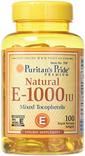 Puritans Pride Vitamin E-1000 Iu Mixed Tocopherols Natural-100 Softgels, 100 Count