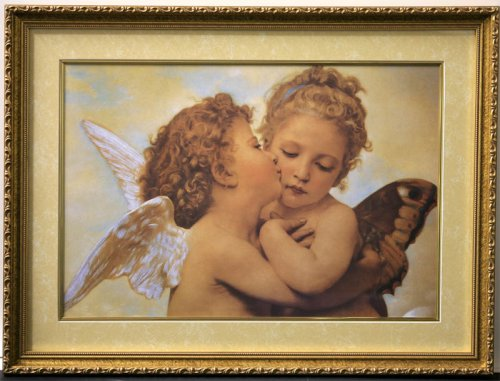 The First Kiss By Bouguereau Framed & Matted 20x27